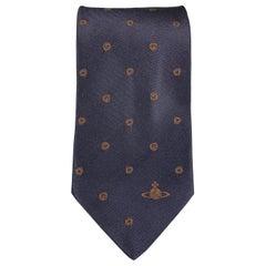 VIVIENNE WESTWOOD Navy & Brown Absract Dot Silk Orb Tie