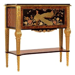 W015 Italian Secretaire in Wood & Inlay w/ Hand Carved Legs in Gold by Zanaboni