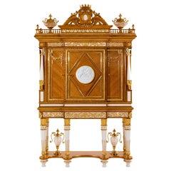 W029 Cabinet, Citronnier Wood & Marble with Gilt Bronze & Gold, Zanaboni