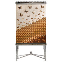 W052 Italian Jewel Cabinet Inlaid in Wood and Mother of Pearl by Zanaboni