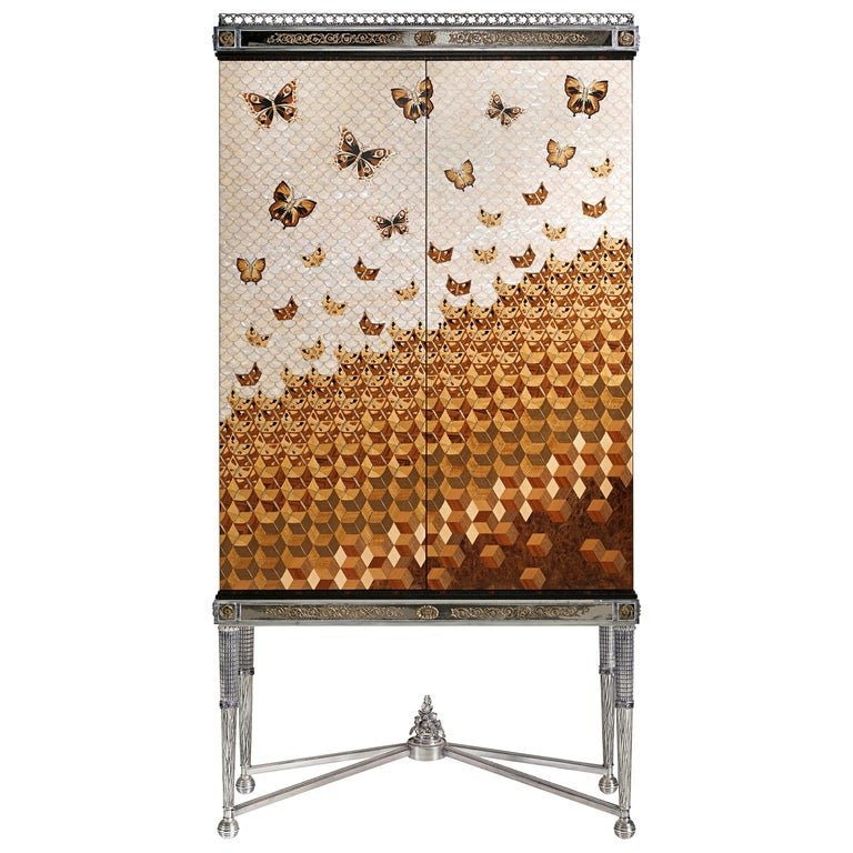 W052 Italian Jewel Cabinet Inlaid in Wood and Mother of Pearl by Zanaboni For Sale