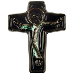 Wall Cross, Green, Brown Painted Ceramic, Handmade in Belgium, 1970s