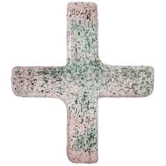 Wall Cross, Textured Ceramic, Handmade in Belgium, 1970s
