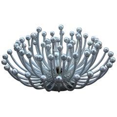 Wall Lamp Sculpture Pistillo Studio Tetrarch for Valenti 1970 Silver Round