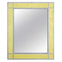 Wall Mirror Artistic Pattern Yellow Scagliola Decoration Light Bas-Relief