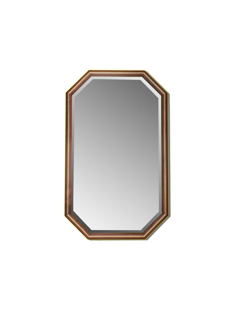 North American Walnut and Brass Inlay Elongated Octagon Framed Mirror For Sale