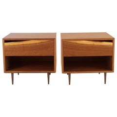 Walnut Bedside Table with Natural Edged Drawer-Fronts by Chris Lehrecke