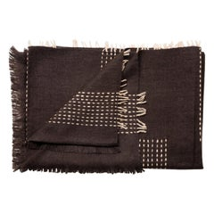 WALNUT Brown Yak Throw / Blanket Handwoven and Hand Embroidered