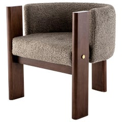 Walnut Timber, Solid Brass and Boucle' Malta Dining and Lounge Chair