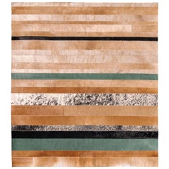 Natural brown, black and green striped Division Large Cowhide Area Floor Rug