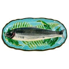 Wedgwood Majolica Monumental Aesthetic Movement Whole Salmon Platter, Dated 1877