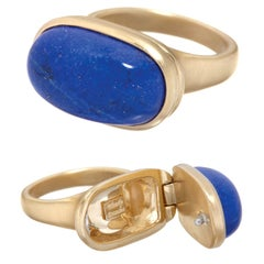 Wendy Brandes 18K Gold Lapis Lazuli Locket Ring With Secret Compartment