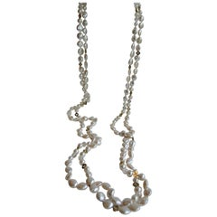 White Coin & Round Culture Pearls Rock Crystal Gold Plate Hematite Rope Necklace
