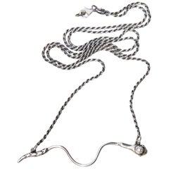 White Diamond Ruby Eyes Snake Pendant Chain Necklace Silver J Dauphin