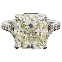 White Gold 11.13 Carat Cushion Diamond Solitaire Engagement Ring