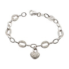 White Gold Heart Charm Bracelet with Diamonds Made in Italy