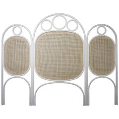 White Lacquered Oak Wooden and Wicker Cane Queen or King Size Headboard