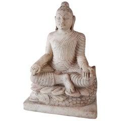 White Marble Sitting Buddha, Mid 1900s