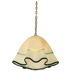 White Murano Glass  and Chrome Hanging Lamp by Mazzega