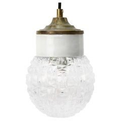 White Porcelain Clear Glass Vintage Industrial Brass Pendant Lights