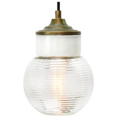 White Porcelain Ribbed Clear Glass Vintage Industrial Brass Pendant Lights