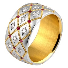 Wide Ruby and Diamond in Platinum and 24 Karat Gold Band