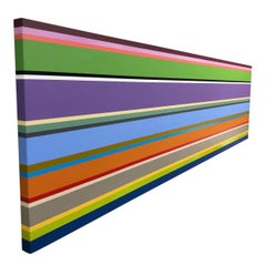 Original Abstract Color Block Stripe Painting