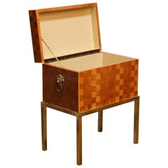 William Switzer Marquetry Chest on Brass Base and Metal Lions, Made in Italy