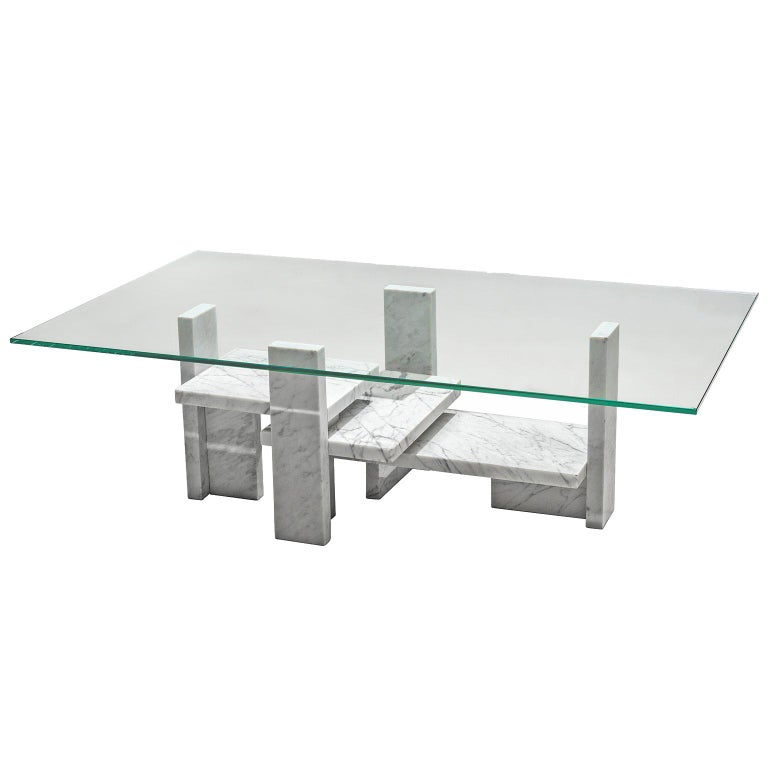 Willy Ballez Architectural Marble Coffee Table For Sale At