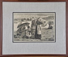 """After Winslow Homer 19th Century Wood Engraving """"On the Beach"""""""