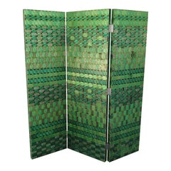 Wood 3-Panel Screen with Inlaid Green Printed Circuit Boards