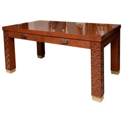 Wood and Nickel Silver Desk with Diamond Frette Work Vintage, 1960s