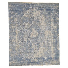 Wool and Pure Silk Hand Knotted Broken Persian Design Rug