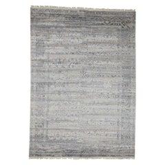 Wool and Silk Agra Broken Design Hand Knotted Oriental Rug