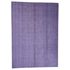 Wool and Silk Purple Tone on Tone Hand Loomed Oriental Rug