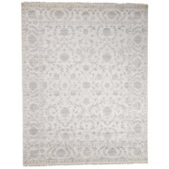Wool and Silk Tone on Tone Agra Hand Knotted Oriental Rug