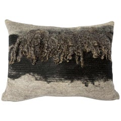 Wool Grey and Black Wensleydale Throw Pillow, Medium, Heritage Sheep Collection