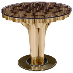 Wormley Side Table in Polished Brass and Clear Glass