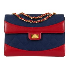 WOW Chanel Vintage Navy Quilted Jersey/Red lambskin 23cm bag by Karl Lagerfeld