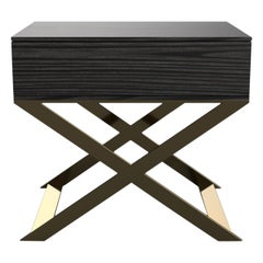 X-Leg Bedside Table in Black Lacquered and Steel Legs
