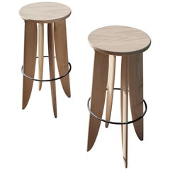 XIII, White Oak Counter Stool Set from Collection Noviembre by Joel Escalona