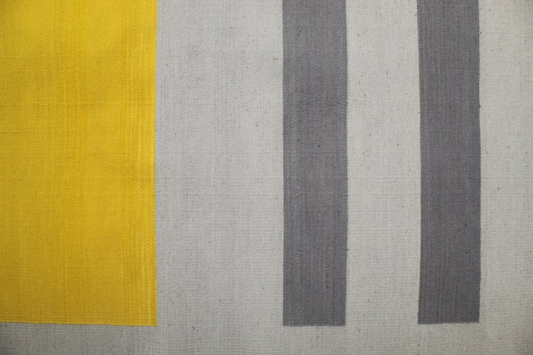 Bespoke Yellow and Grey Wool Handwoven Rug or Kilim, Natural Dye For Sale 5