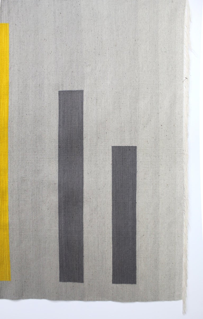 Modern Bespoke Yellow and Grey Wool Handwoven Rug or Kilim, Natural Dye For Sale
