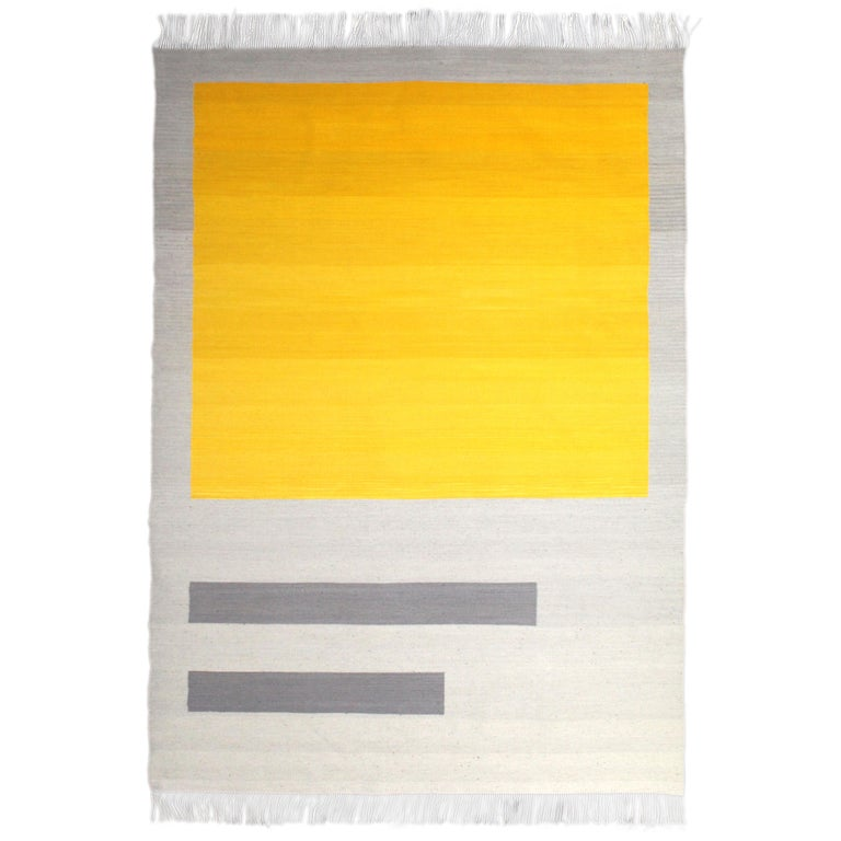 Bespoke Yellow and Grey Wool Handwoven Rug or Kilim, Natural Dye For Sale