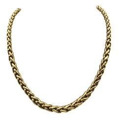 Yellow Gold 18 Karat Palm Mesh Necklace, circa 1980s