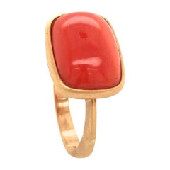 Yellow Gold 18 Karat Ring and Coral Cabochon