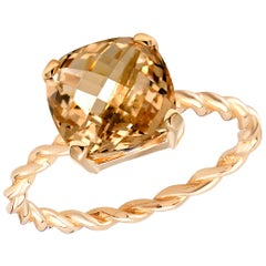 Yellow Gold Cushion Shape Morganite Braided Cocktail Ring