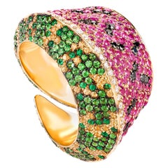 """Yellow Gold, Sapphire, Emerald and Diamond """"Watermelon"""" Cocktail Ring"""