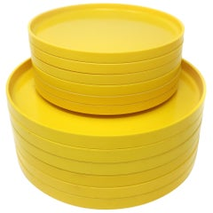 Yellow Massimo Vignelli for Heller Dinnerware, Set of 6 Dinner and Salad Plates