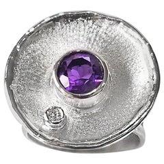 Yianni Creations 1.30 Carat Amethyst Diamond Fine Silver Palladium Round Ring
